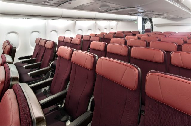 Qantas Airbus A380 cabin Economy Class