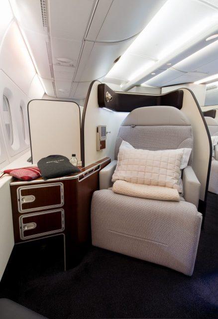 Qantas Airbus A380 cabin First Class