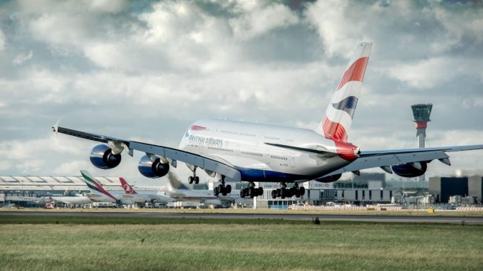 British Airways Airbus A380 landing at London Hearthow Airport
